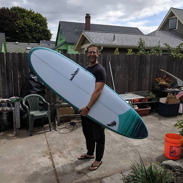 "7'2"" ecogold Disc for Jonathan.  Still blown away by how light a 7' board can feel with epoxy/eps construction!  Thanks again and see you out there! 🤙"