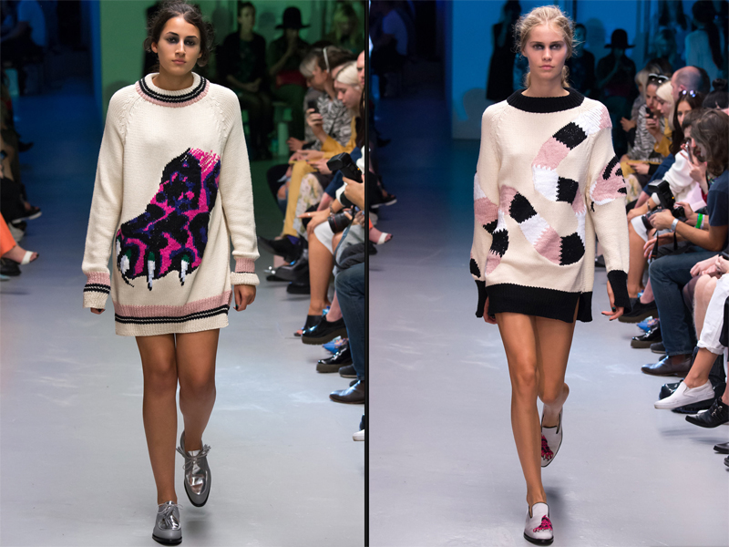 LFW: Giles     One of London Fashion Week's key players and general British fashion legend, Giles Deacon took inspiration from artist Walton Ford's wildlife paintings for this quirky collection. The claws, the fuzzy snakes and the patchwork prints made this a real highlight of a show  ,  especially  with the huge sassy jumpers.   Proving that novelty knits aren't just for Christmas, will you all start stitching on applique animal motifs asap please? Faux fur features only though!