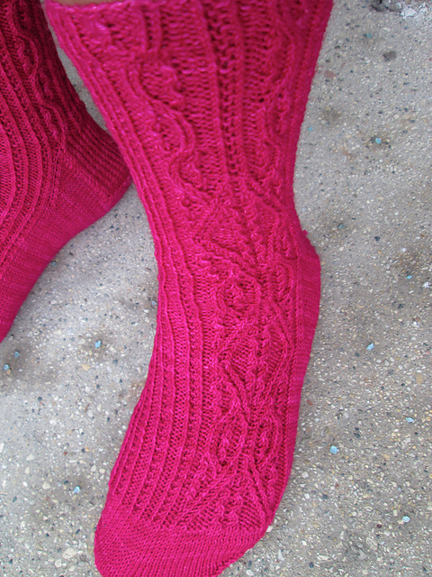 WhiskeyKnits made these fabulous Eula socks - click through to see her Ravelry page.