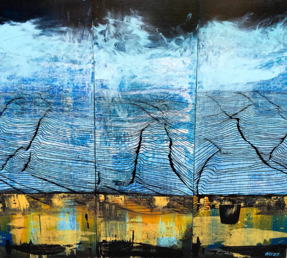"SOLD: Acrylic and oil pen triptych on wood panels. 35"" x 36"""