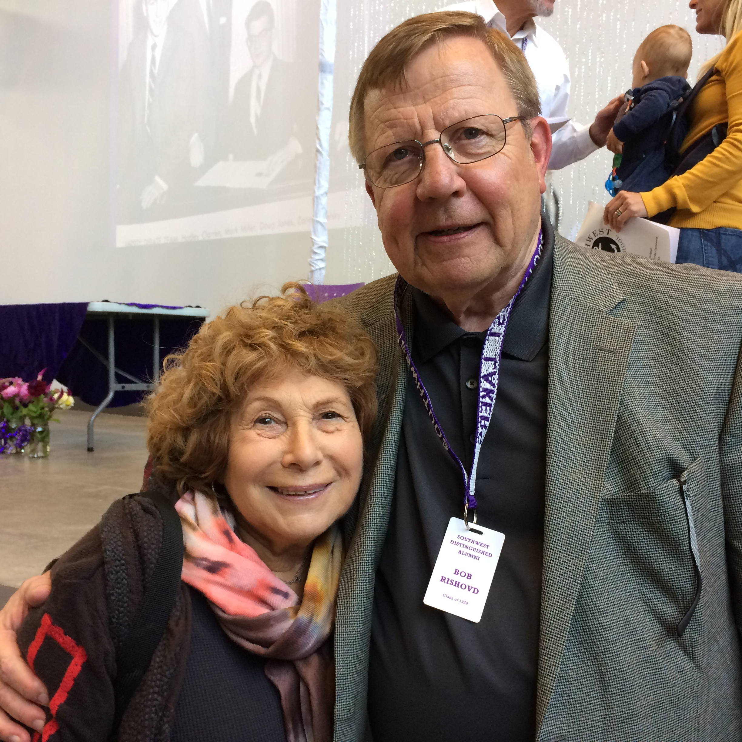 Distinguished Alumni Committee member Ruth Usem '57 with Distinguished Alumni Bob Rishovd '59 at the Awards Ceremony on October 8, 2016