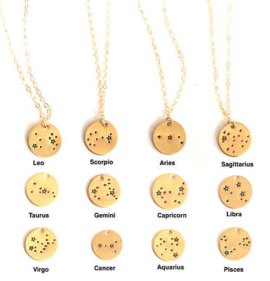 Constellation necklaces we're adding to our Christmas list (image via  Oxbow Designs  via  Etsy ).