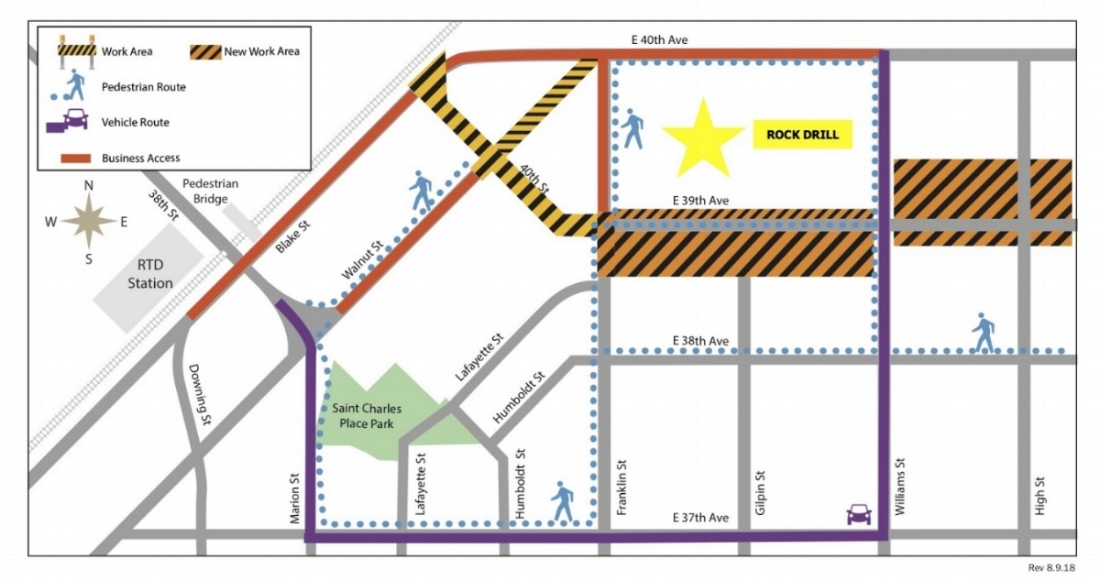 Map of street closures near the Rock Drill