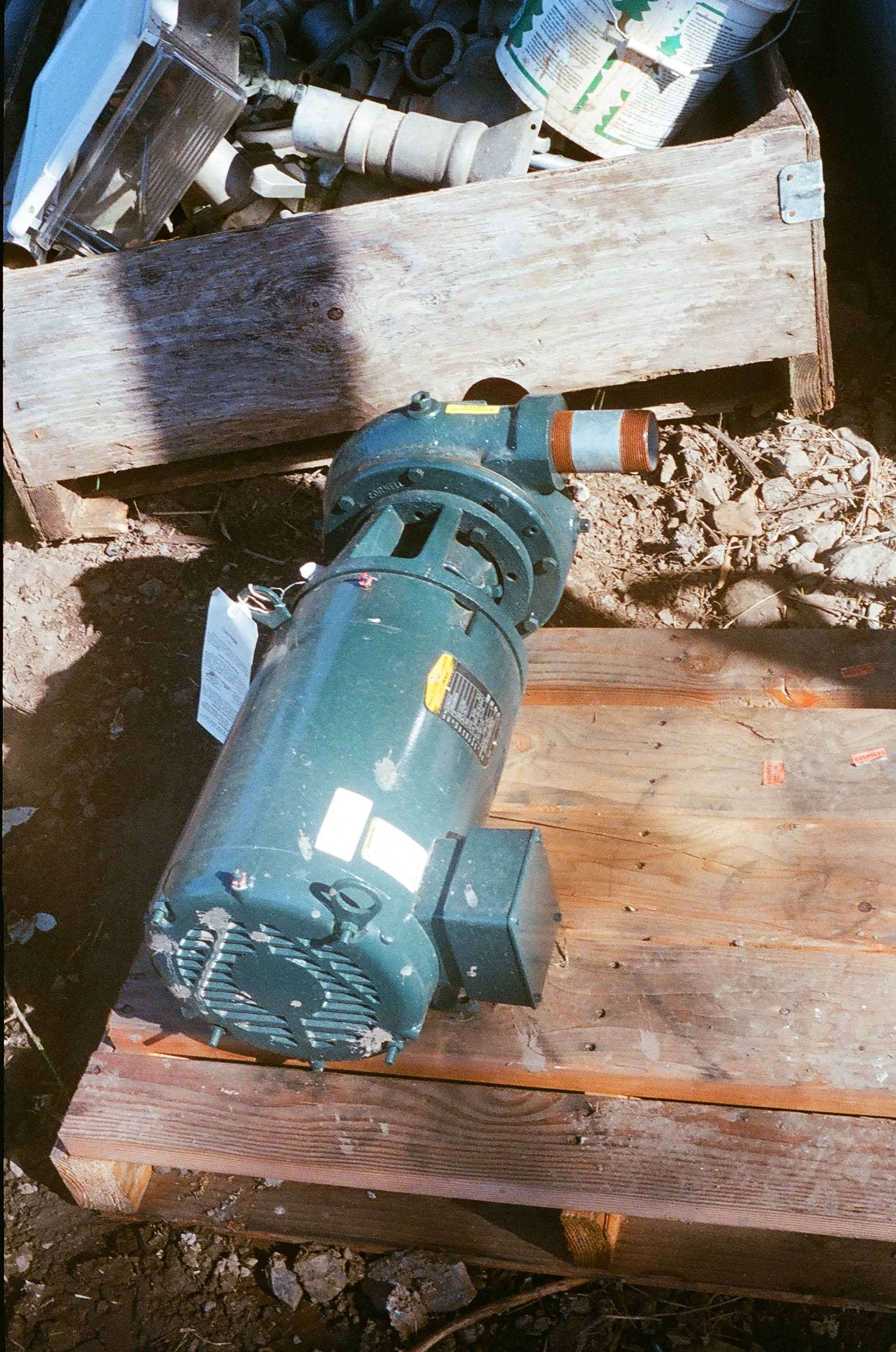 A high efficiency motor powers this irrigation pump.