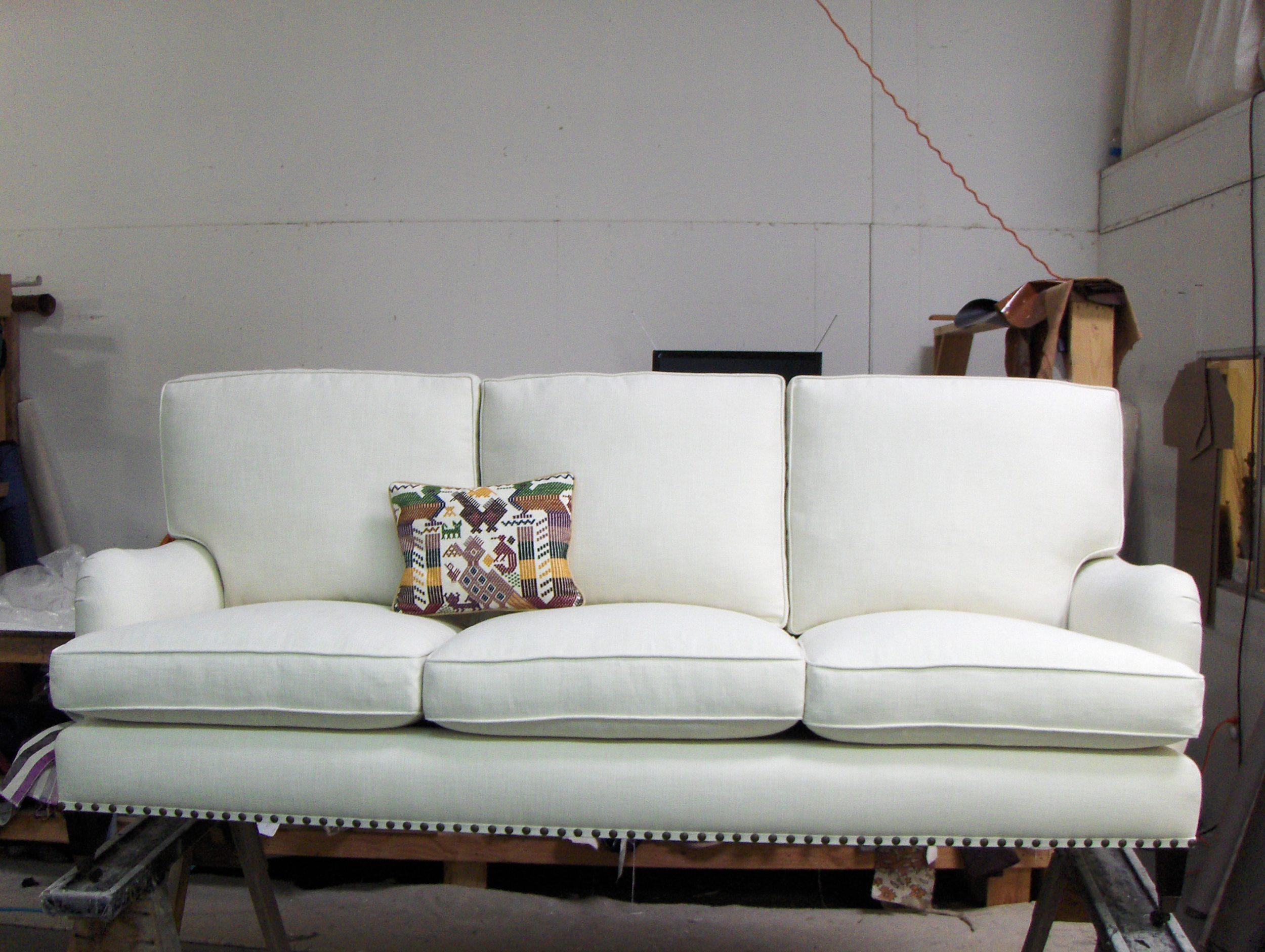 Sofa  Linen w/ nail head trim