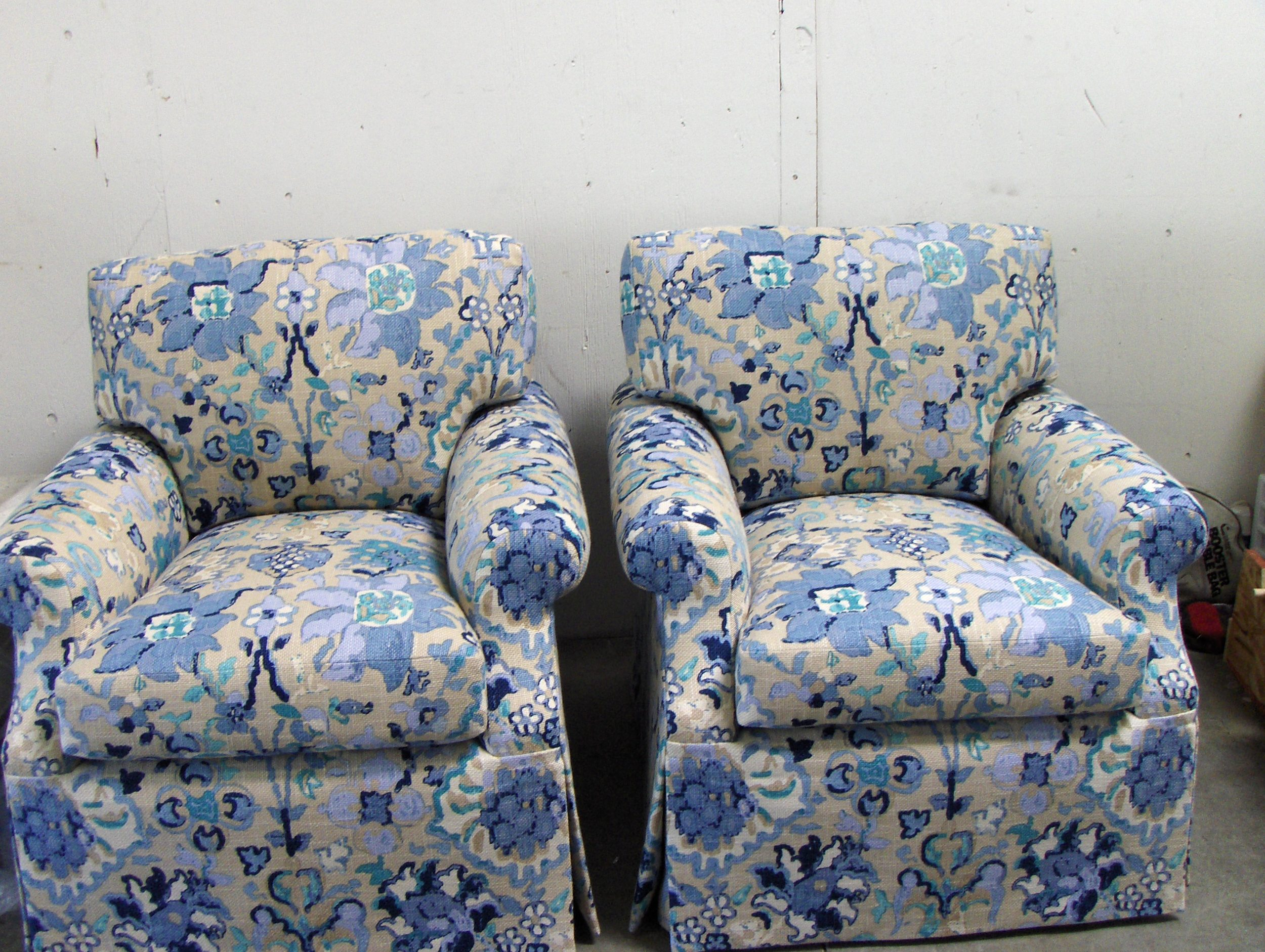 Side Chairs  Cotton print w/ drop skirt