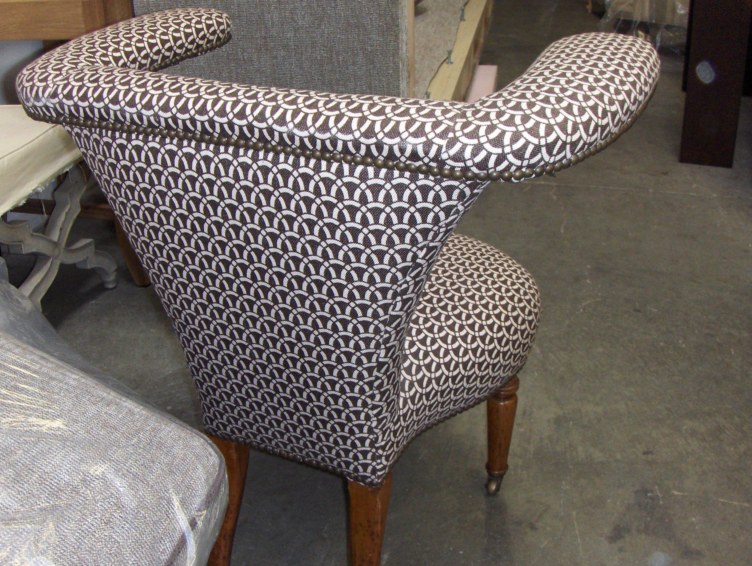Side Chair  Cotton print w/ nail head trim