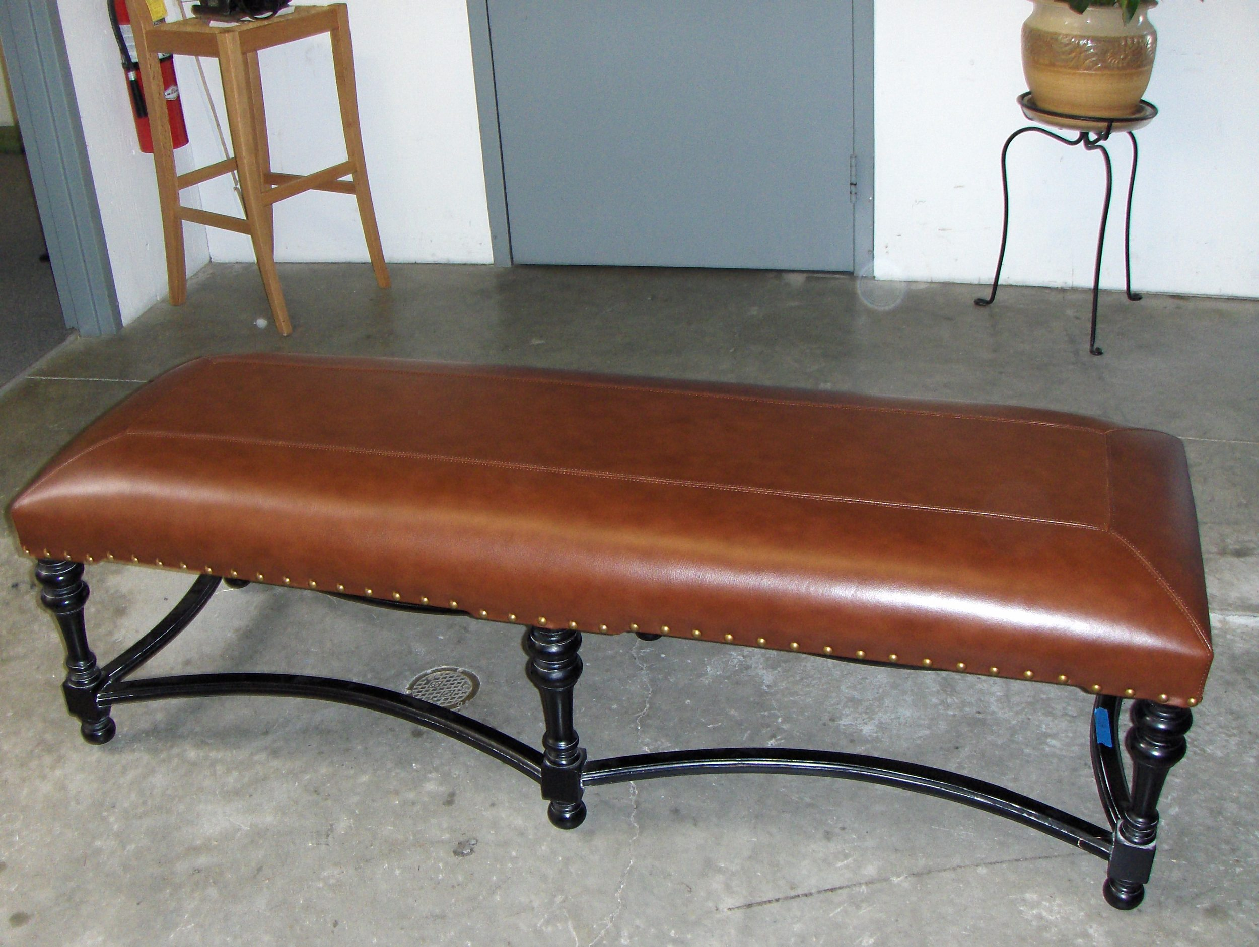 Bench  Leather w/ double top stitch and nail head trim