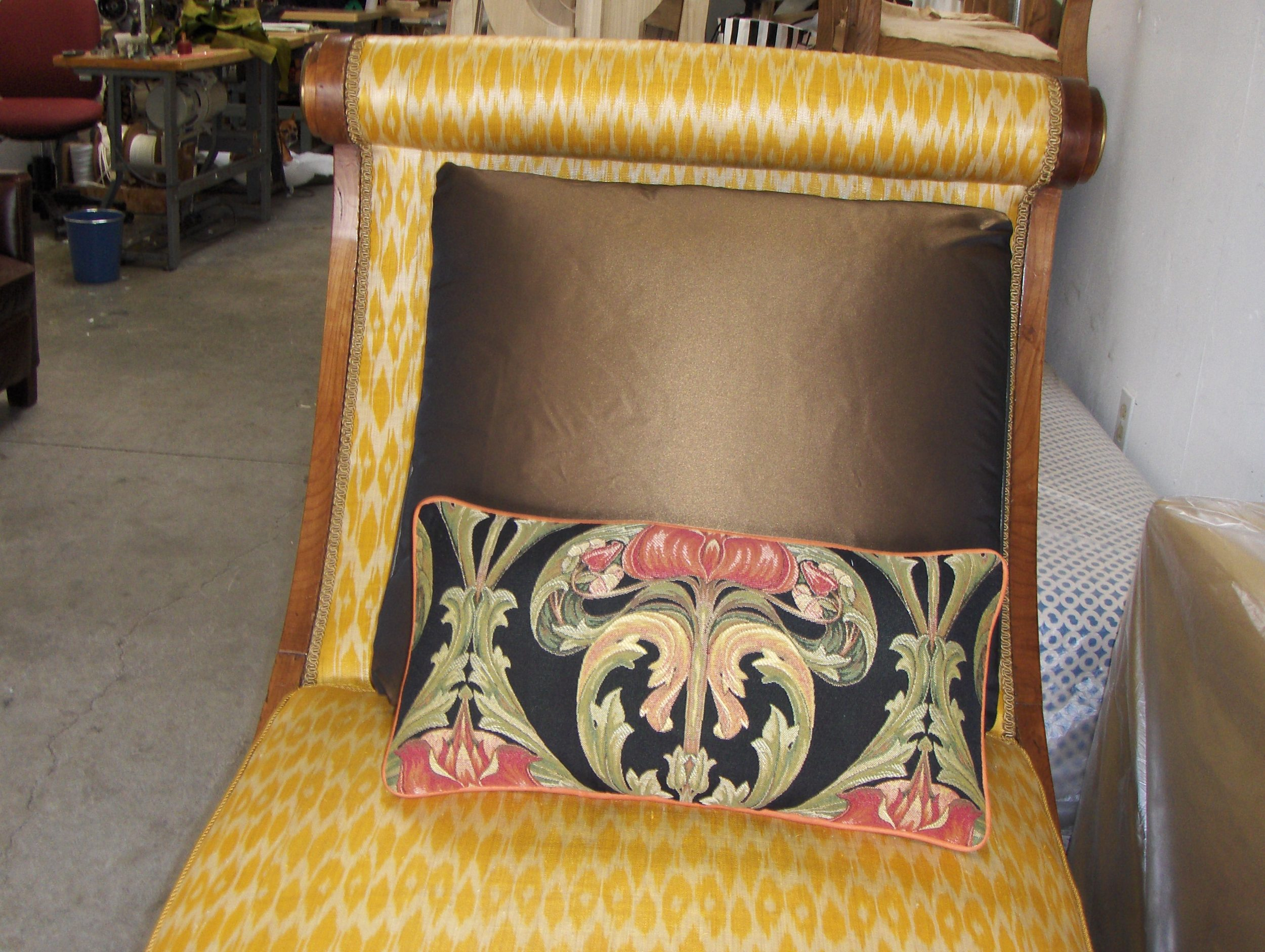 Day Bed & Throw Pillows  Horse hair and silk