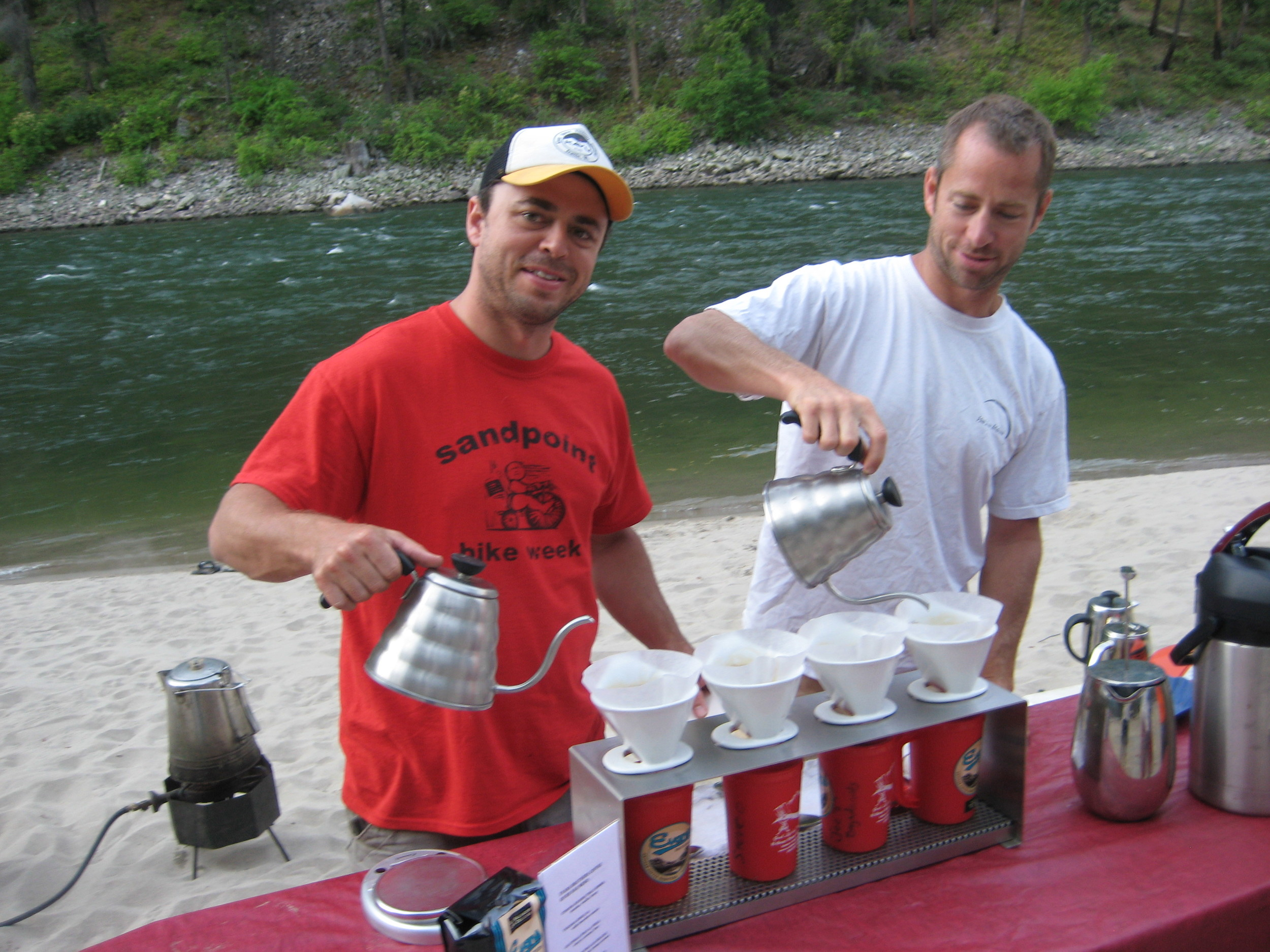 Rick and Randy with the waterfront pourover station at each campsite