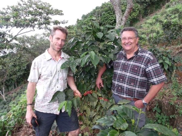 Rick Evans and Miguel Menendez at Finca Las Delicias