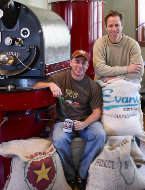 Rick and Randy Evans shortly after opening Evans Brothers Coffee 5 years ago.