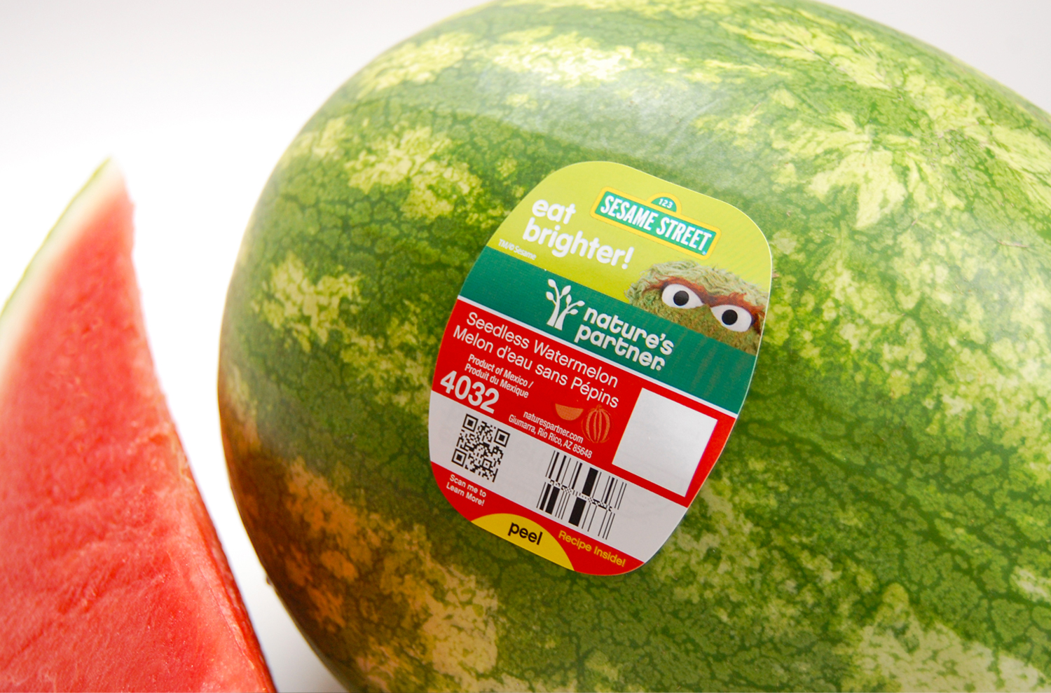 Sesame Street's  Oscar on Nature's Partner watermelons.  Click here to download high resolution image.