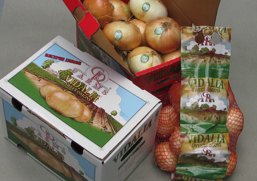 G&R Farms' sweet onion packaging.  Click to download high resolution image.