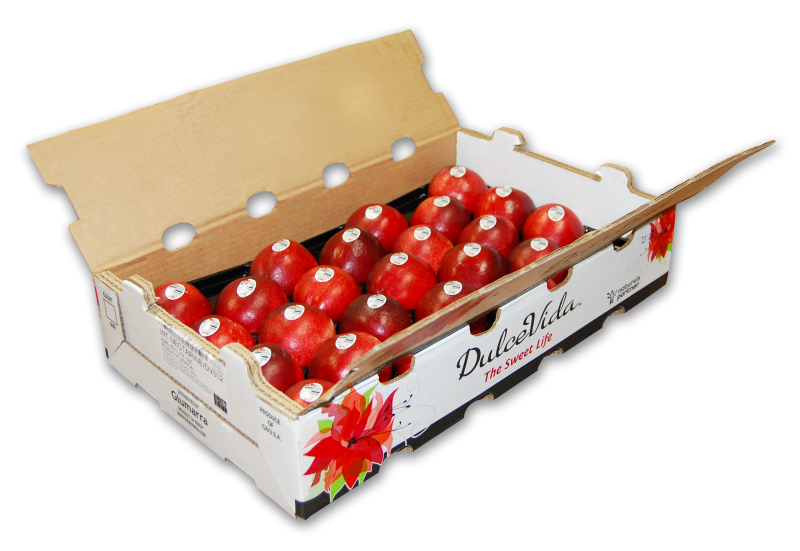 "The name ""DulceVida"" translates to ""Sweet Life"" in Spanish. The name indicates the fruit's superb eating qualities and its European origins. The packaging is designed with a premium look and feel."