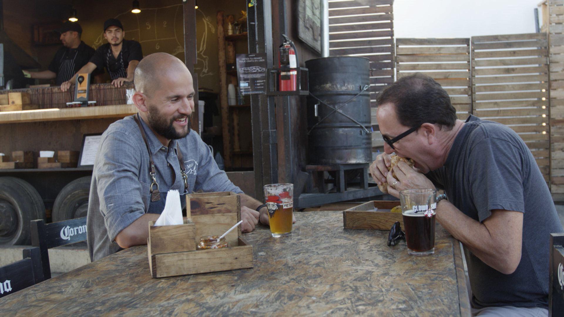 Sam at HUMO with Chef Giovanni Brassea