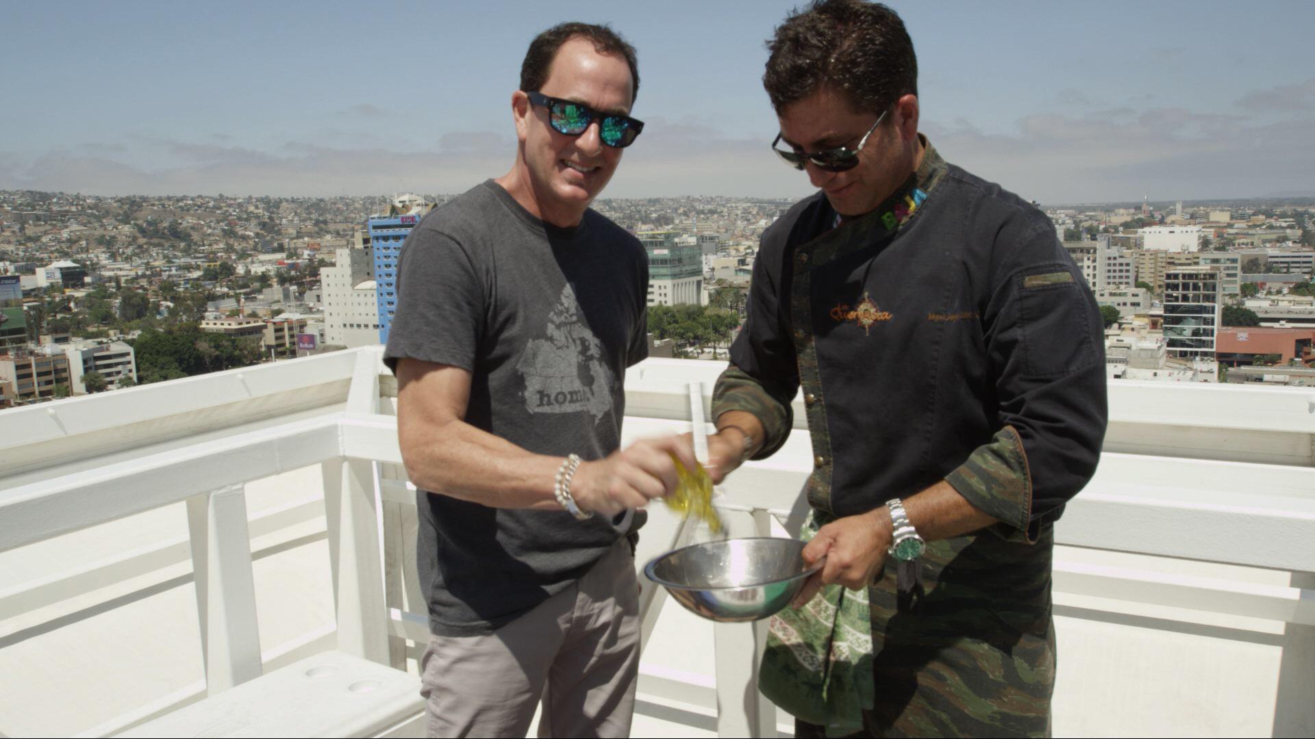 Sam with  Miguel Angel Guerrero  on top of VIA Corp.skyscraper in the Rio Zone of TJ