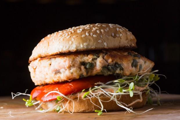 salmon burger thecookingguy