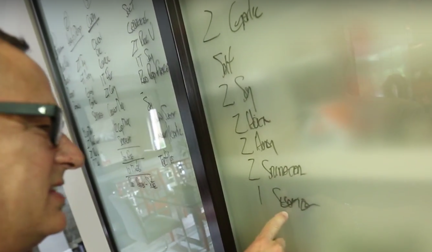 Sam trying to decipher his recipe... Help a guy out – anyone know what this word says?