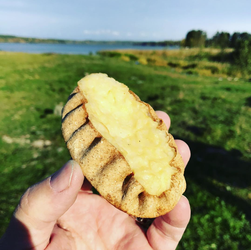 Karjalanpiirakka in  Koskivaara , Finland. A small hand pie filled with rice. Soon good.