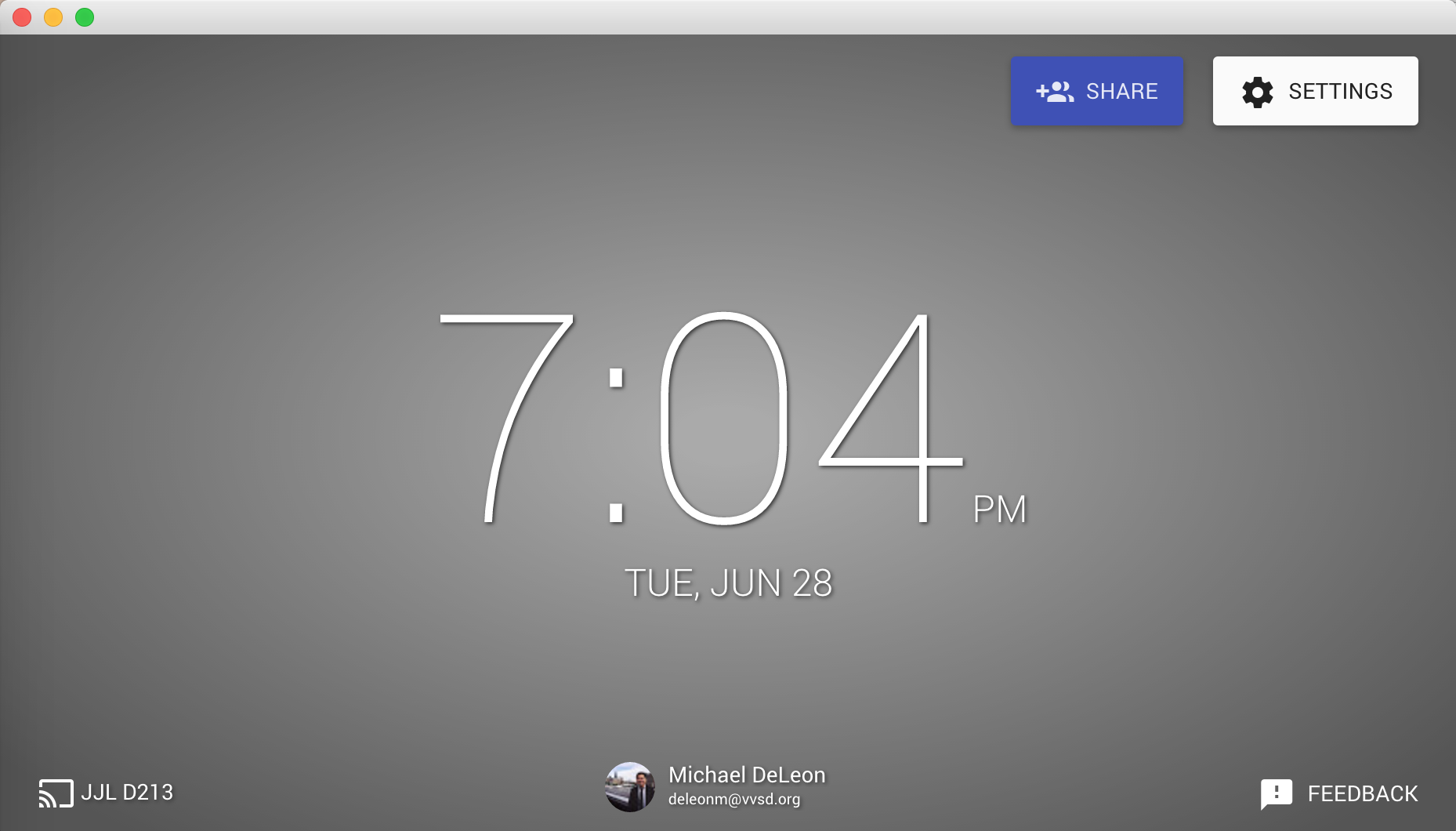 The Google Cast for Edu app opens a window where your mirrored screens will open in.