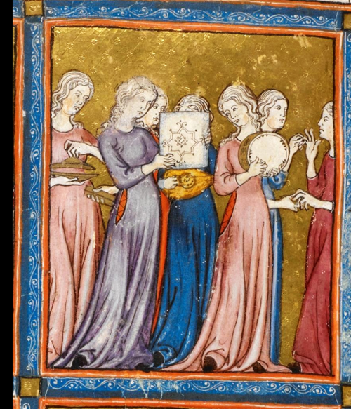 Song of Miriam and Maidens, Golden haggadah, 1320 CE, probably Barcelona.png
