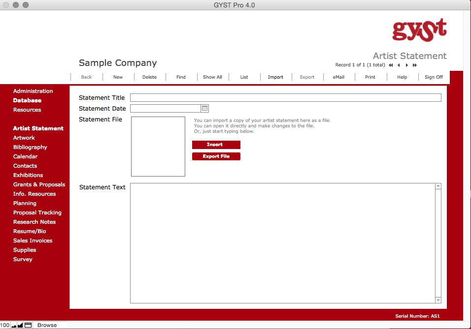 GYSTPro 4.0 Software for Artists_Artist Statements for Artists