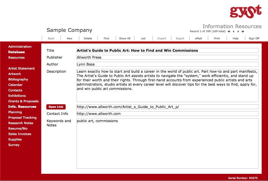 GYSTPro 4.0 Software for Artists_Information Resources (169 Additional Resources and Information) for Artists