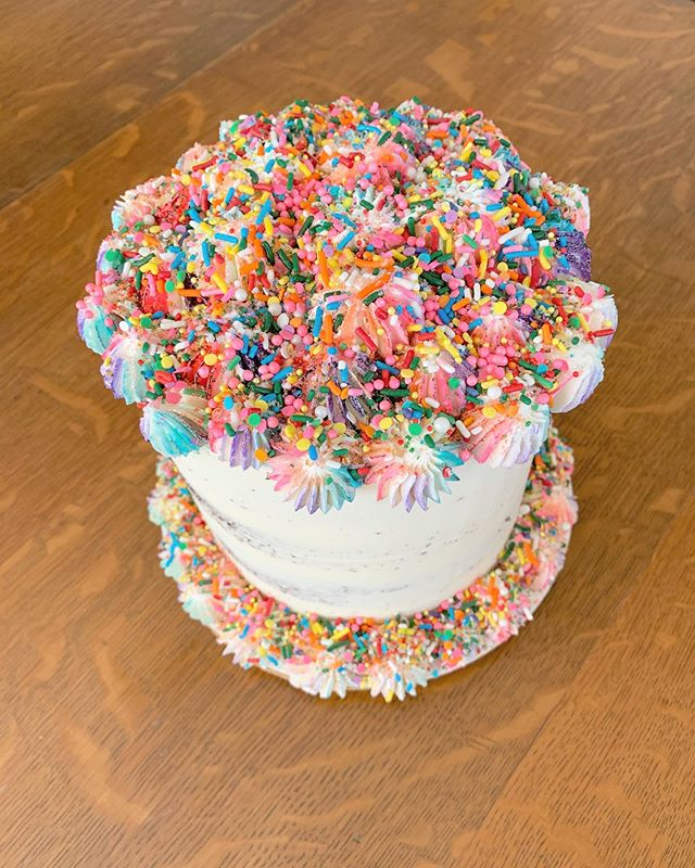 Cake to honor PRIDE MONTH: chocolate cake, strawberry lavender jam, confetti crumble, lavender buttercream, SPRINKLES!