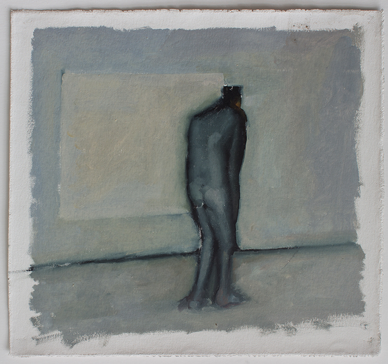 """Lean, line painting 2, Oil on canvas H15""""xW16"""", 2011"""