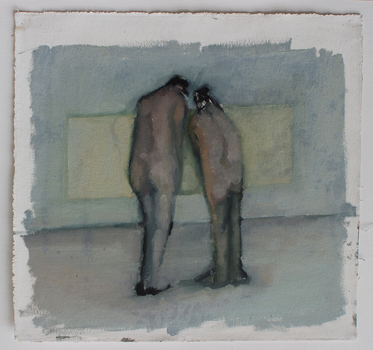 """Lean, line painting 5, Oil on canvas H15""""xW16"""", 2011"""