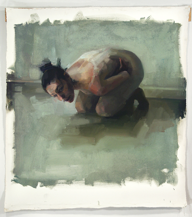 "BESIDE, vomiter 1, Oil on canvas, H48""xW35"", 2011"