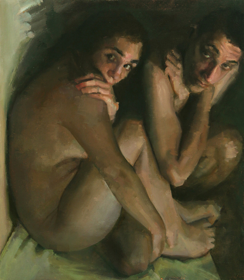 "In Difference, Aisen and Nick 1, Oil on Canvas, H32""xW48"", 2009"