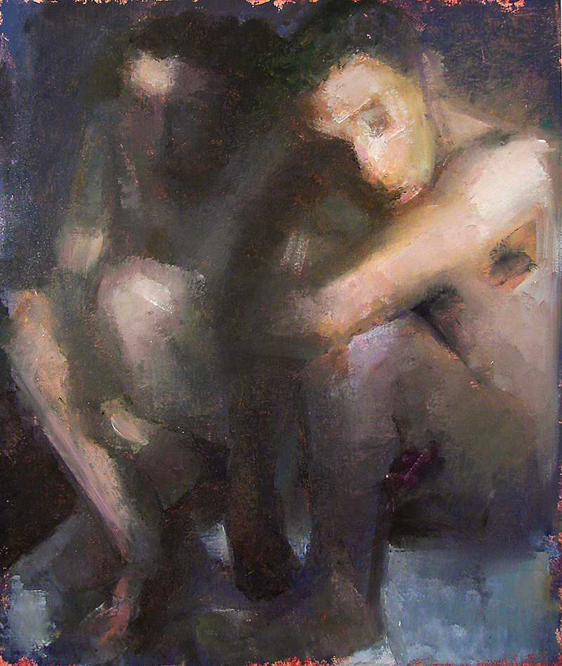 "In Difference, Aisen and Nick 4, Oil on Canvas, H32""xW48"", 2009"