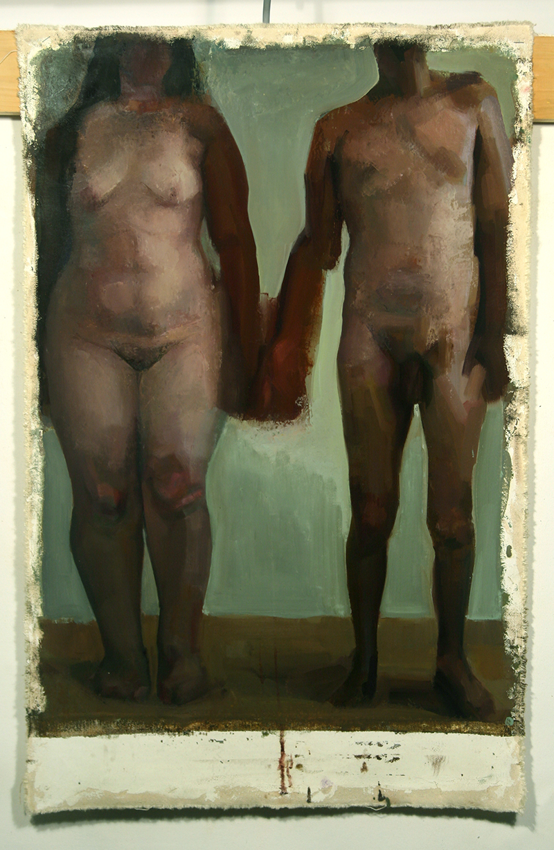 "In Difference, Noa and Ariel, no heads, Oil on canvas, H30""xW20"", 2011"