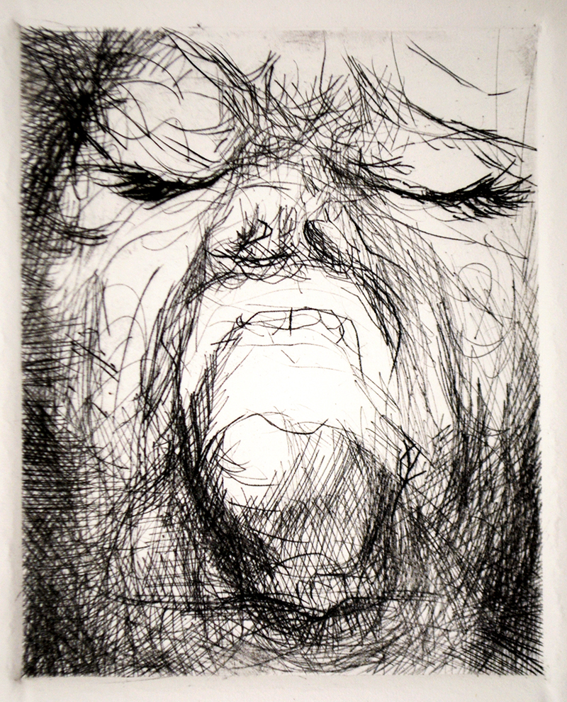 """Drypoints, caves 1. Ink on paper H5""""xW4"""", 2010"""