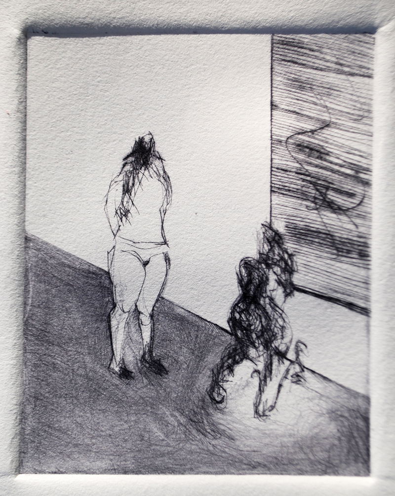 """Drypoints, line 2, Ink on paper, H5""""xW4"""", 2010"""
