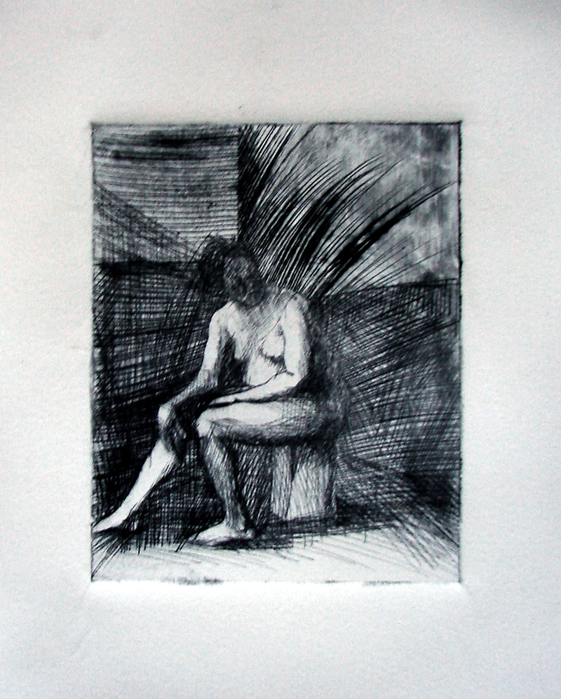 """Drypoints, waiter 2. Ink on paper H5""""xW4"""", 2010"""