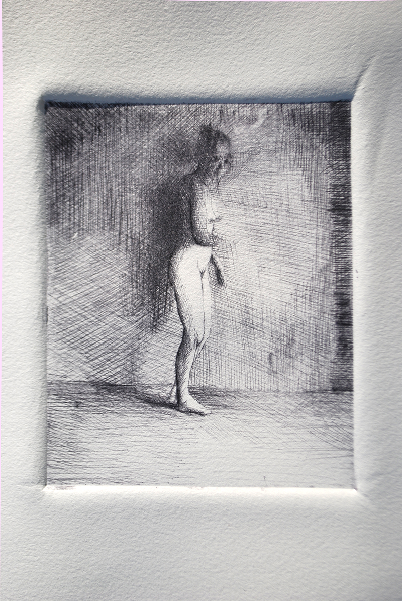 """Drypoints, middays 2. Ink on paper H5""""xW4"""", 2010"""
