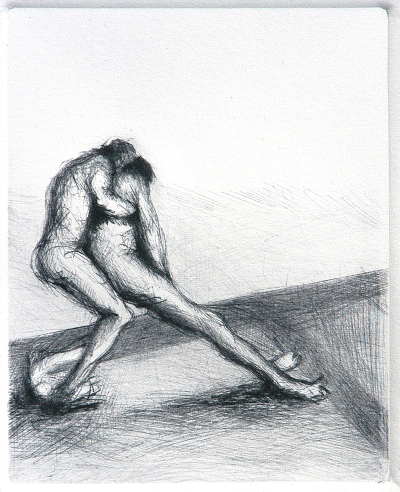 """Drypoints, lean 4. Ink on paper H5""""xW4"""", 2010"""