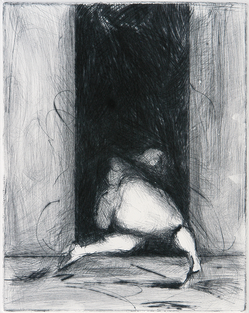 """Drypoints, lean 5, ink on paper,H12""""xW9"""", 2010"""