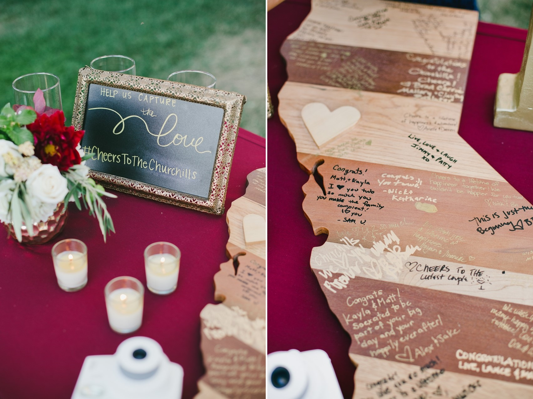 California Wooden Block Wedding Guest Book