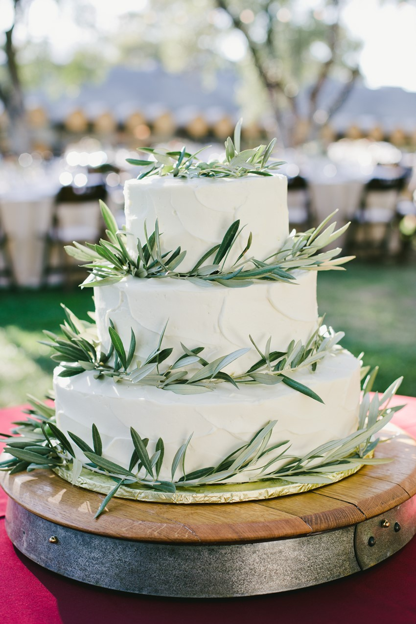 White and Olive Branch Wedding Cake