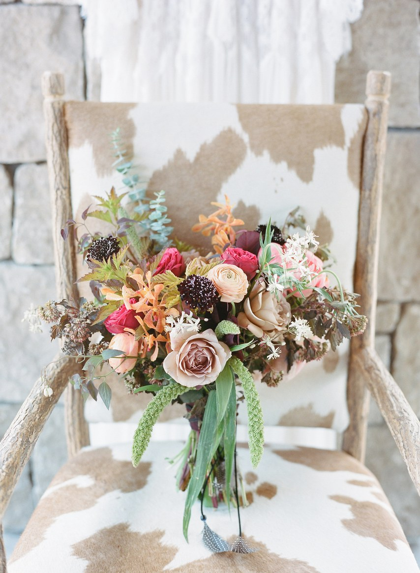 Bridal Bouquet in Jewel and Natural Tones