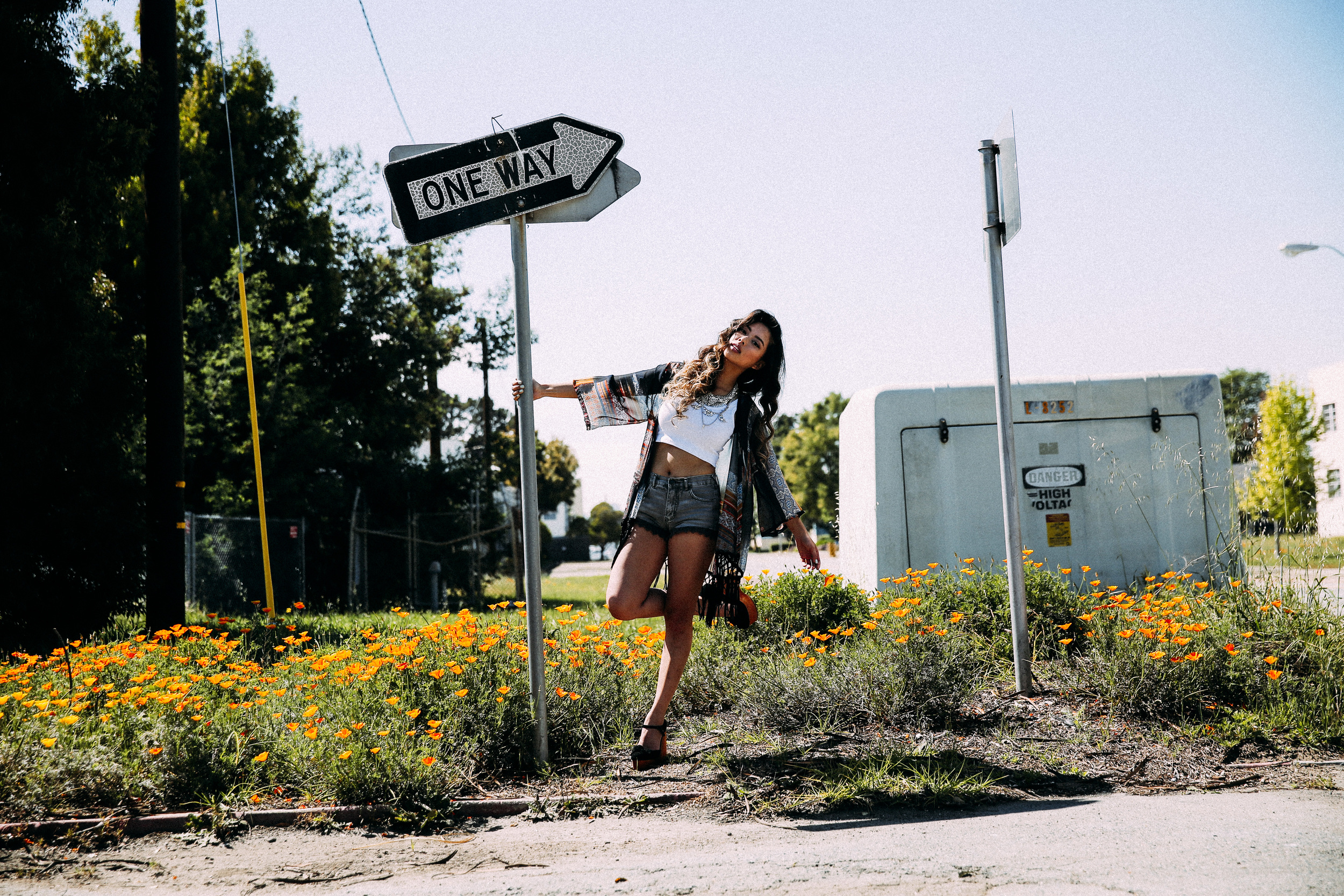 Kimono:  Wet Seal , Shorts:  Free People , Shoes:  Jeffrey Campbell , Necklace:  Xevana // Shot by:  Lux