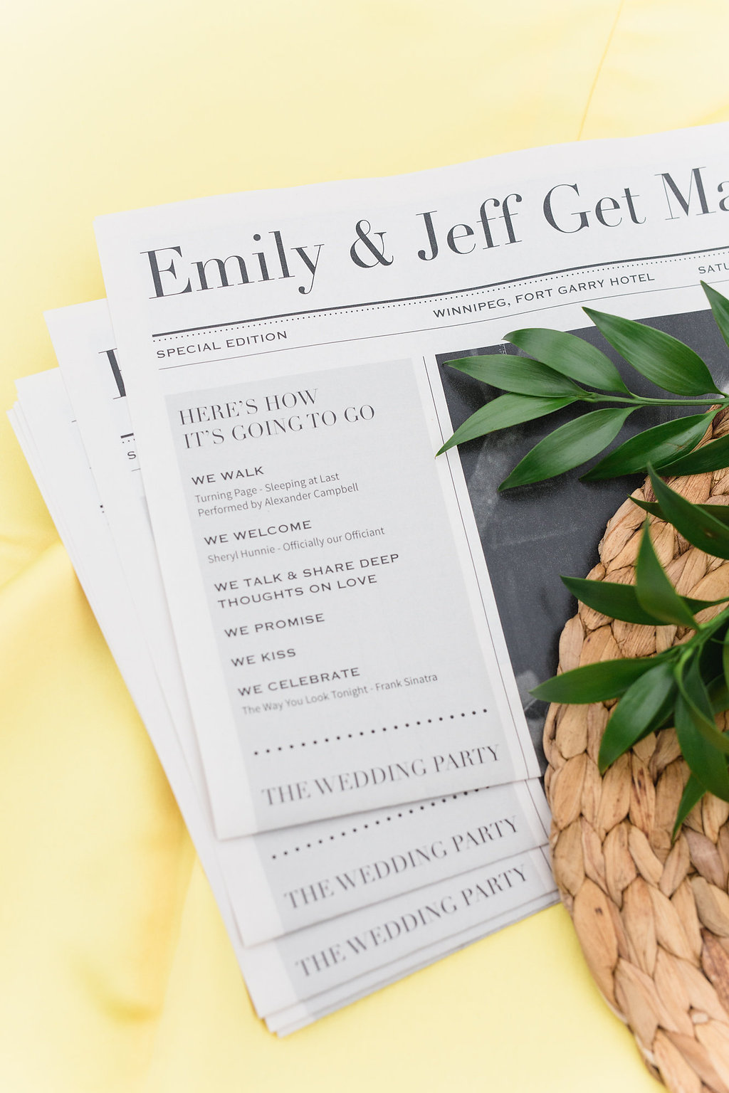 Brunch Wedding Newspaper Program