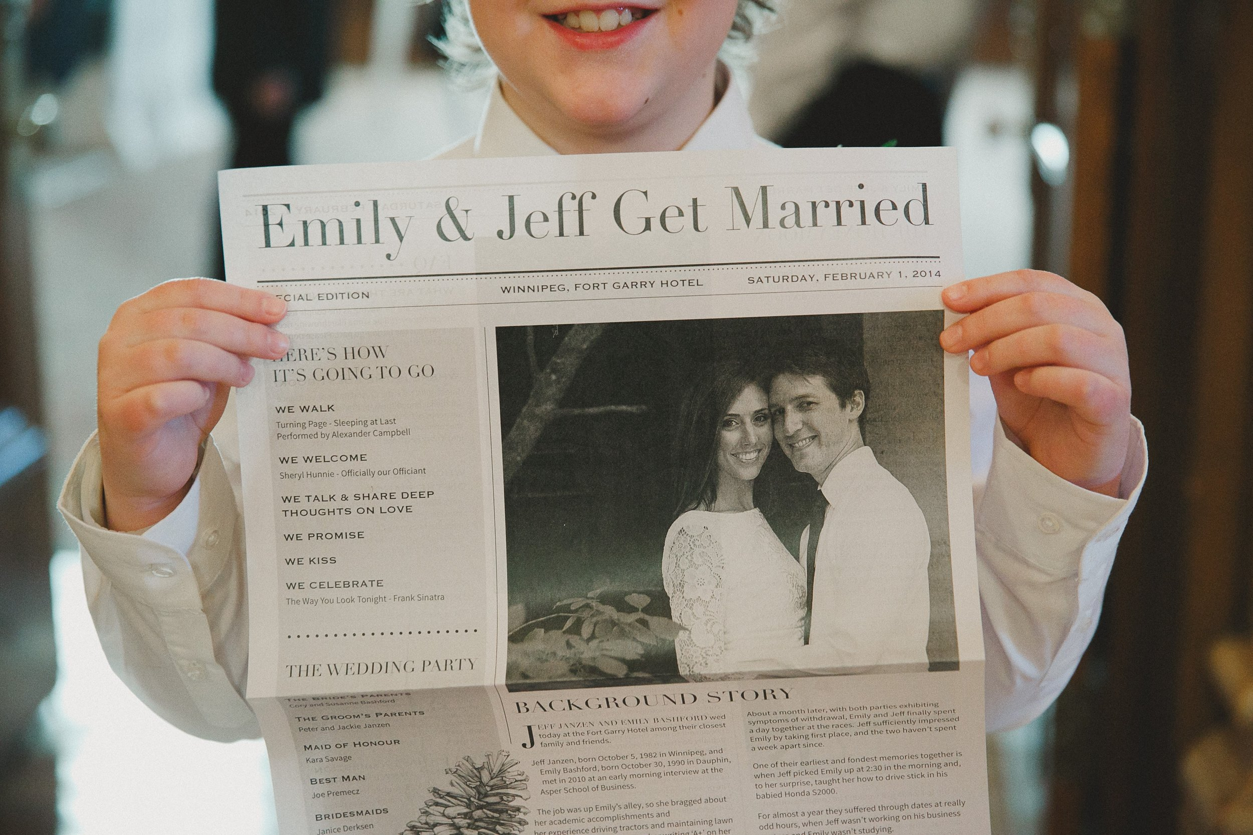Newspaper Wedding Program at Fort Garry Hotel Winnipeg Manitoba