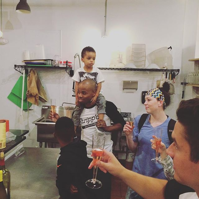 to everyone who came out to celebrate with us last night :: thank you. thank you. thank you.  this man has been working his tail off for so long to live his dream and the day has finally come. so beyond proud of him and his awesome team and so grateful for everyone's love and support.  #strippdjuice #madeinphl #proudwife