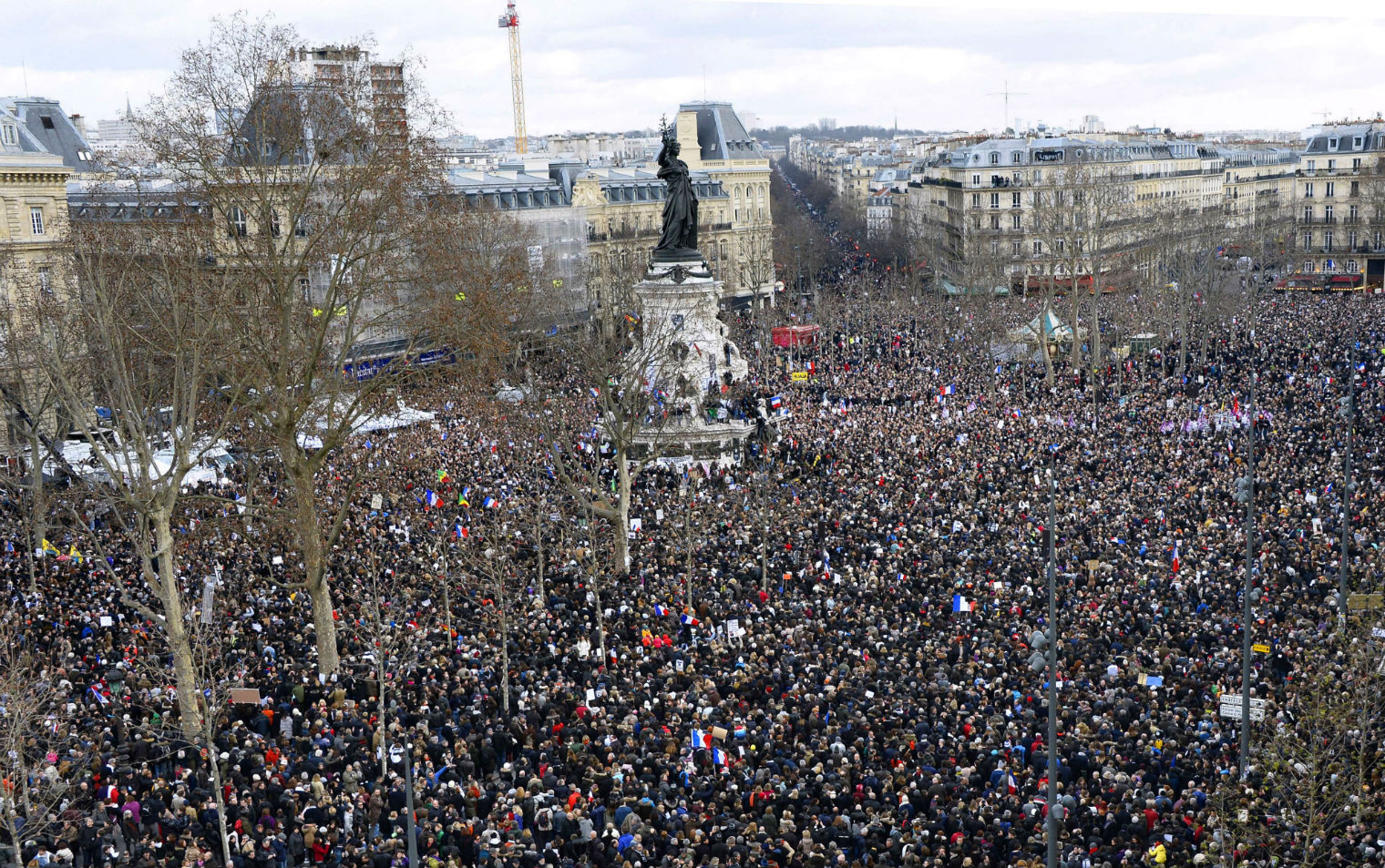 Solidarity march in Paris in response to terrorist attacks.