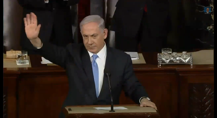Bibi Netanyahu at the end of his speech to US Congress.
